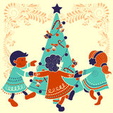 Ludzie świętuje festiwali/lów Wesoło bożych narodzeń wakacje tło Zdjęcia Stock