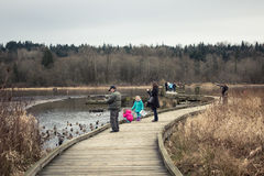Ludzie aktywność przy Burnaby Jeziornym Jawnym parkiem Zdjęcia Stock