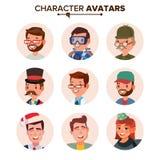 Ludzie Avatars kolekci wektoru Braków charakterów Avatar Placeholder Kreskówki mieszkania odosobniona ilustracja ilustracja wektor