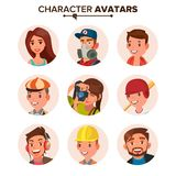 Ludzie Avatars Ustawiającego wektoru Twarz, emocje brak royalty ilustracja