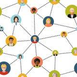 Ludzie avatars w ogólnospołecznej sieci na bielu ilustracji