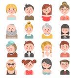 Ludzie avatars wszystkie wiek kolorowa kolekcja na bielu royalty ilustracja