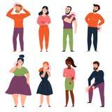 Ludzie ból i obolałość w klatce piersiowej, cynaderki, plecy ilustracji