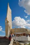 Ludzie badają Zaisan wojennego zabytek lokalizować na wzgórzu w Ulaanbaatar, Mongolia Fotografia Royalty Free