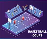 Ludzie Bawić się Koszykowego Balowej gry grafiki Isometric pojęcie ilustracja wektor