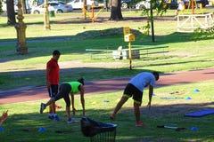 Ludzie bawić się sport w parku, sprawność fizyczna Obrazy Royalty Free