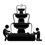 ludzie bawić się w outdoors fontanny ikony wizerunku royalty ilustracja