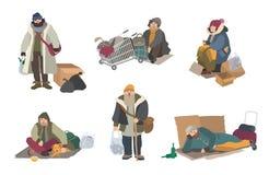 Ludzie bezdomni kreskówki płascy charaktery ustawiająca ilustracja Fotografia Stock