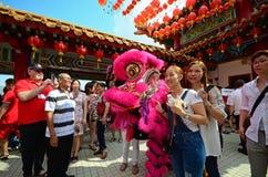 Ludzie bierze fotografię z lwa tancerzem Fotografia Stock