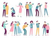 Ludzie bierze fotografie Kobieta bierze selfie obrazki, pozujący dla fachowej fotografa i mężczyzna mienia fotografii kamery ilustracji