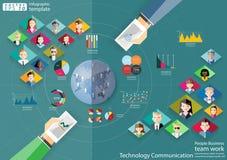 Ludzie biznes drużyny pracy technologii komunikaci przez światowego nowożytnego pomysłu i pojęcia Infographic Wektorowego ilustra Fotografia Royalty Free