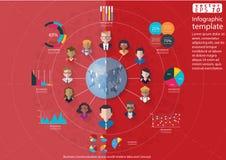 Ludzie biznes drużyny pracy technologii komunikaci przez światowego nowożytnego pomysłu i pojęcia Infographic Wektorowego ilustra Obrazy Royalty Free