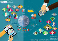 Ludzie biznes drużyny pracy technologii komunikaci przez światowego nowożytnego pomysłu i pojęcia Infographic Wektorowego ilustra Obrazy Stock