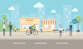 Ludzie biznesowi na mieście i ogólnospołeczny commucation tło Obrazy Royalty Free