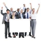 Ludzie Biznesu świętowania szczęścia sztandaru kopii przestrzeni pojęcia Obrazy Stock