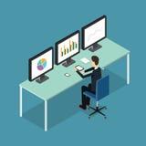 Ludzie biznesu analityczni na monitoru wykresu raporcie i SEO na sieci Płaski wektor workplace officemates sprawa tła odizolowane ilustracja wektor