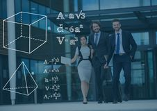 Ludzie biznesu błękitna narzuta i białe matematyk grafika z zmrokiem - Zdjęcia Stock