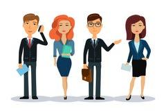 Ludzie biznesu charakterów kobieciarz kawowa biznesowej megafonu zespołu grupowi urzędnicy Mężczyzna i kobiety w biurowej odzieży Obrazy Stock