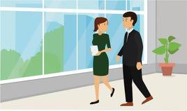 Ludzie biznesu chodzi w dół w biurowym korytarzu i opowiadać ilustracja wektor