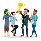 Ludzie Biznesu doścignięcie wektoru Biznesmena lidera mienia zwycięzcy Złota filiżanka Nowożytny Biurowy pracownik Odosobniony mi royalty ilustracja