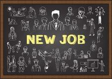 Ludzie biznesu doodle o NOWEJ pracie na chalkboard Fotografia Stock