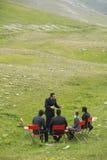 Ludzie Biznesu Dyskutuje W góry polu zdjęcie royalty free