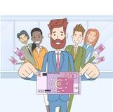 Ludzie Biznesu grupa chwyta Pięćset euro ilustracja wektor