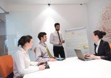 Ludzie biznesu grupują brainstorming i brać trzepnięcie boa notatki Obrazy Stock