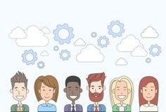 Ludzie Biznesu Grupują dział zasobów ludzkich pracy zespołowej Różnorodnego Obłocznego pojęcie royalty ilustracja