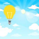 Ludzie Biznesu Grupują Fly Air Baloon żarówkę Obraz Stock