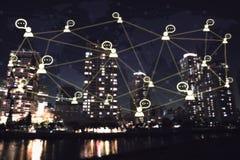 Ludzie biznesu ikona networking systemu pojęcie kuli ziemskiej technologia Zdjęcia Royalty Free