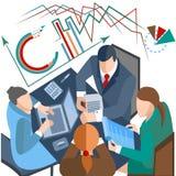 Ludzie biznesu, infographics, laptop, dokumenty ilustracji