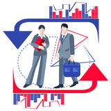 Ludzie biznesu, infographics, strzała royalty ilustracja
