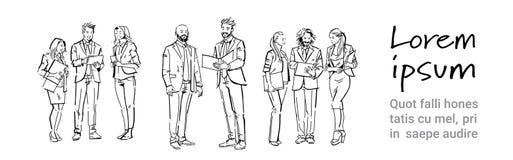 Ludzie biznesu komunikacyjni podczas spotkania, dyskusja koledzy komunikuje pełnego długości pojęcie na bielu ilustracji