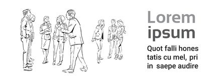 Ludzie biznesu komunikacyjni podczas spotkania, zgoda przed biznesmen dyskusi kolegów komunikować ilustracji