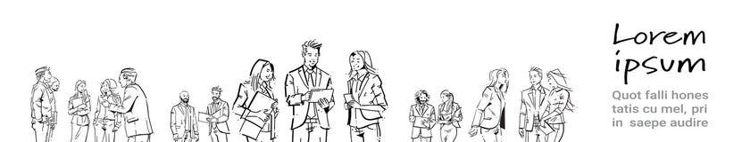 Ludzie biznesu komunikacyjni podczas spotkania, zgoda przed biznesmen dyskusi kolegów komunikować royalty ilustracja