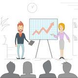 Ludzie Biznesu mężczyzna kobiety spotkania Seminaryjnych Stażowych Konferencyjnych biznesmenów Brainstorming Grupowej prezentaci  Obraz Stock