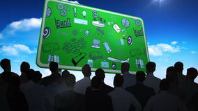 Ludzie biznesu ogląda brainstorm na billboardzie ilustracji