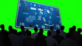 Ludzie biznesu ogląda brainstorm na billboardzie royalty ilustracja