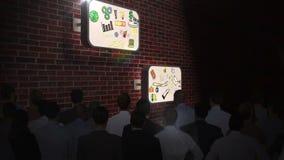 Ludzie biznesu ogląda brainstorm na ekranach ilustracja wektor
