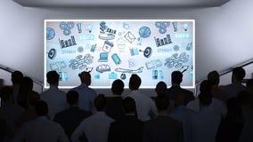 Ludzie biznesu ogląda brainstorm na ekranie royalty ilustracja