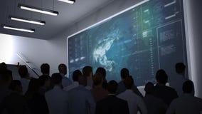 Ludzie biznesu ogląda dane interfejs na ekranie ilustracja wektor