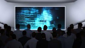 Ludzie biznesu ogląda dane matrycę na ekranie ilustracji