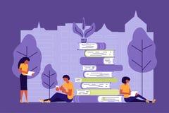 Ludzie biznesu onlinego dystansowego studiowania ilustracja wektor