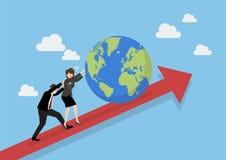 Ludzie biznesu pcha świat na wykresie up Fotografia Royalty Free