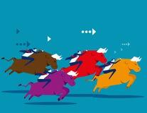 Ludzie biznesu przeja?d?ki rywalizacja i byka Poj?cie biznesowa wektorowa ilustracja P?aski projekta styl ilustracja wektor