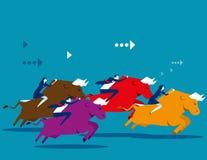 Ludzie biznesu przeja?d?ki rywalizacja i byka Poj?cie biznesowa wektorowa ilustracja P?aski projekta styl royalty ilustracja