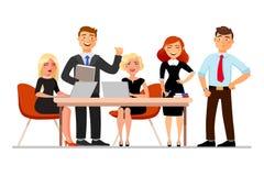 Ludzie biznesu przy spotkaniem odizolowywającym na białym tle Wektorowa ilustracja w kreskówki mieszkania stylu ilustracji