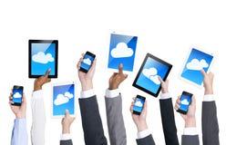 Ludzie biznesu ręki mienia urządzeń łącznościowe Obraz Stock