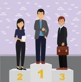 Ludzie biznesu stoi na zwycięzcy podium ilustracji